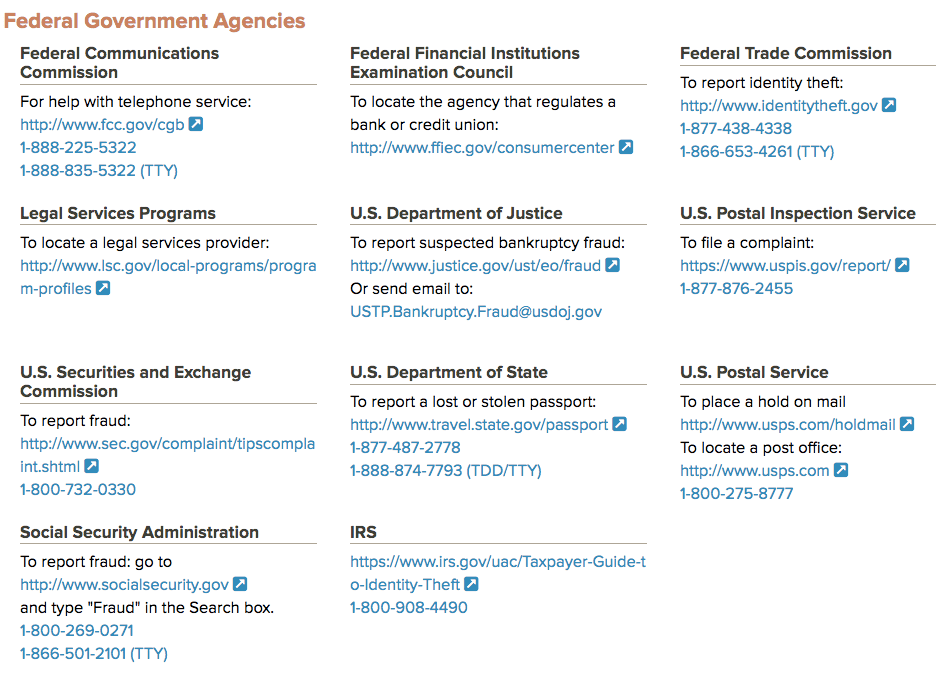 List of US Federal agencies to report data breach